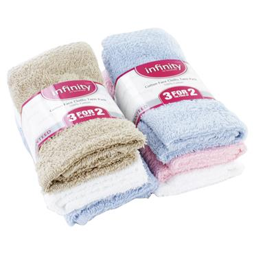 INFINITY COTTON FACE CLOTHS  3 FOR 2
