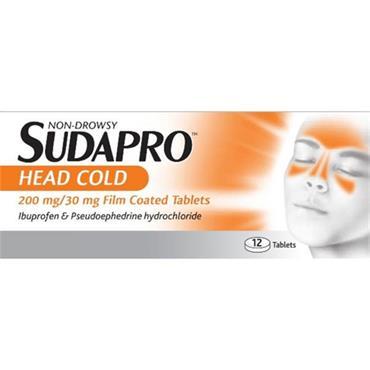 SUDAPRO HEAD COLD 200MG/30MG FC 12 TABS