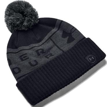 Under Armour Gents Big Logo Pom Beanie  Black 001