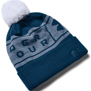 Under Armour Gents Big Logo Pom Beanie  Blue 581