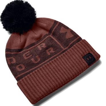 Under Armour Gents Big Logo Pom Beanie  Red 688