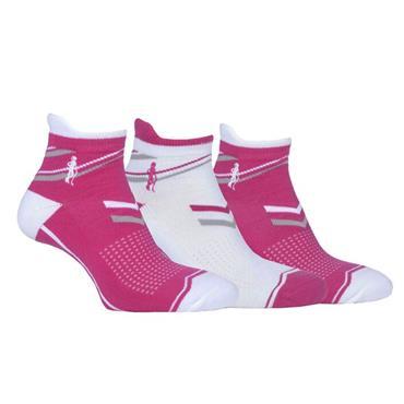Glenmuir Ladies Megan Anklet 3pk Sock  Magneta/White/Light Grey
