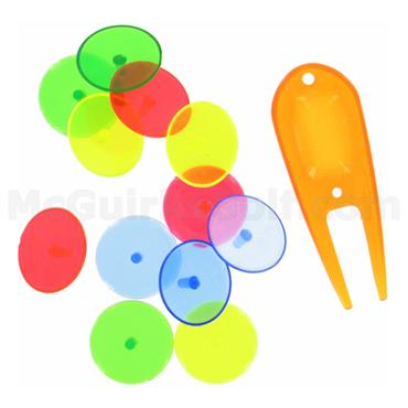 Golfers Club Collection Neon Plastick Markers and Fork