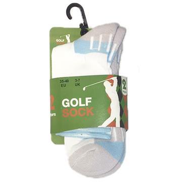 Golf Sock Ireland Ladies Socks Patty 2-Pair Pack  White/Turquoise