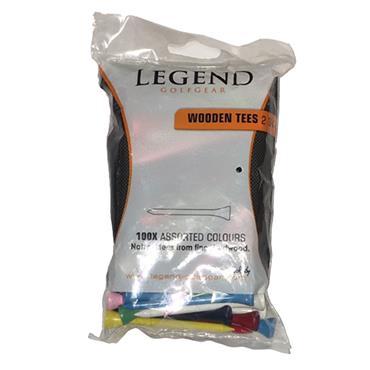 """Legend Golfgear Legend Wooden Tee 100 Pack 2 3/4"""" Mixed"""