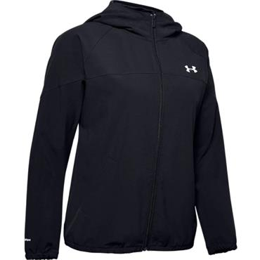 Under Armour Ladies Woven Hooded Jacket Black 001