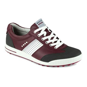 Ecco Gents Golf Street Shoes White - Burgundy - Grey