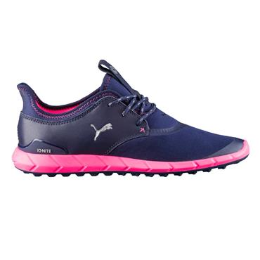 Puma Ladies Ignite Spikeless Golf Shoes Peacoat - Silver - Pink