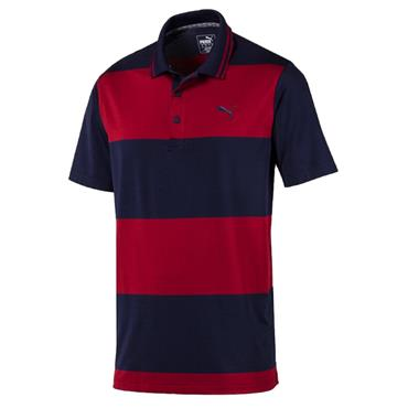 Puma Gents Rugby Polo Shirt Peacoat - Rhubarb