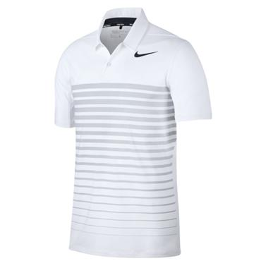 Nike Gents Dry Heather Stripe Polo Shirt White