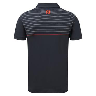 Footjoy Gents Lisle Stripe Polo Shirt Navy - White - Scarlet