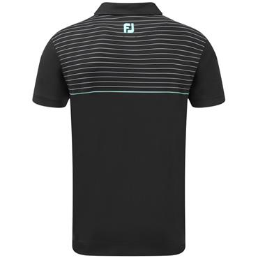 FootJoy Gents Lisle Pinstripe Polo Black - White - Aqua