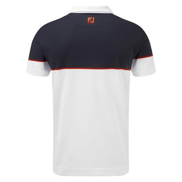 Footjoy Gents Colour Block Pique Polo Shirt White - Navy - Scarlet