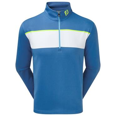 Footjoy Gents Jersey Chest Stripe Chill-Out Pullover Blue - White - Citrus
