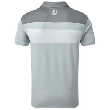 FootJoy Gents Double Block Birdseye Pique Polo Shirt Grey - White - Black