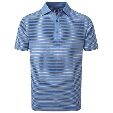 FootJoy Gents Heather Lisle with Stripes Polo Shirt Royal - Black - Grey