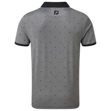 FootJoy Gents Birdseye Argyle Print with Knit Collar Polo Shirt Black - White 90250