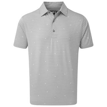 FootJoy Gents Lisle Stripe Leaf Print Polo Shirt Grey - White