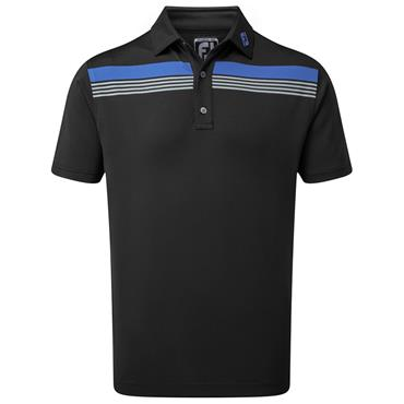 FootJoy Gents Stretch Pique Chestband Polo Shirt Black - Royal - Grey