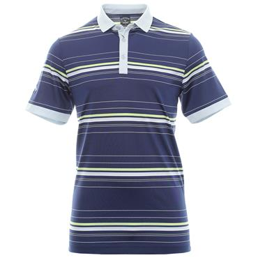 Callaway Gents Euro 3 Colour Stripe Polo Shirt Medieval Blue - Grey
