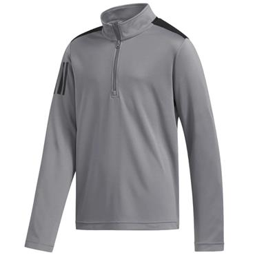 adidas Boys 3 Stripe 1/2 Zip Top Grey