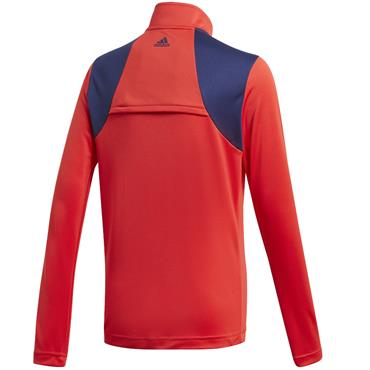 adidas Boys 3 Stripe 1/2 Zip Top Red