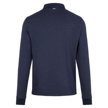 J.Lindeberg Gents Bridge Regular Fit Long Sleeve Polo Shirt Navy Melange