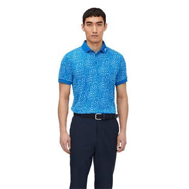 J.Lindeberg Gents Tour Tech Regular Fit Graphic Polo Shirt Ocean Blue