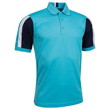 Glenmuir Gents Doune Stripe Panel Pique Polo Shirt Aqua