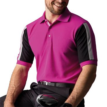 Glenmuir Gents Doune Stripe Panel Pique Polo Shirt Fuchsia