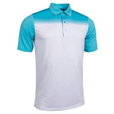 Glenmuir Gents Haddington Printed Polo Shirt Aqua - White