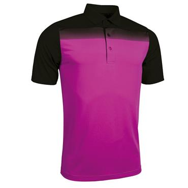 Glenmuir Gents Haddington Printed Polo Shirt Black - Fuchsia