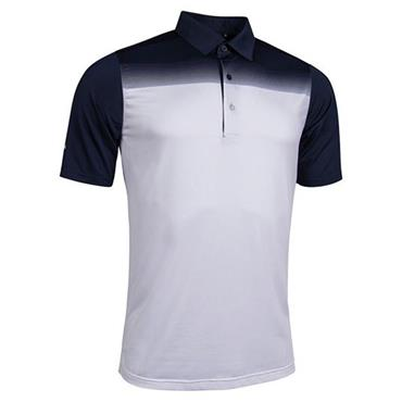 Glenmuir Gents Haddington Printed Polo Shirt Navy - White