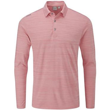 Ping Gents Corey Long Sleeve Polo Shirt Cyber Red Multi