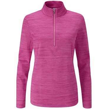 Ping Ladies Skye 1/2 Zip Top Fuchsia Marl - White