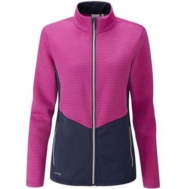 Ping Ladies Florrie Jacquard Fleece Fuchsia - Oxford Blue
