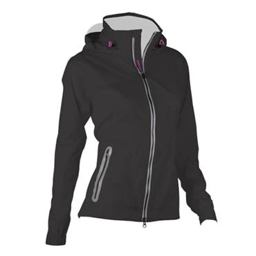 Zero Restriction Ladies Olivia Hooded Waterproof Jacket Black - Metallic Silver