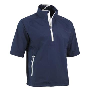 Zero Restriction Gents Power Torque 1/4 Zip Short Sleeve Waterproof Top Navy - White