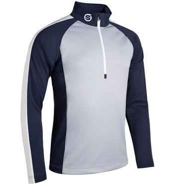 Sunderland Gents Aspen Zip Mid Layer Top Silver - Navy - White