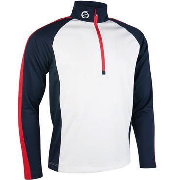 Sunderland Gents Aspen Zip Mid Layer Top White - Navy - Red
