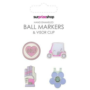 Surprizeshop Ball Marker & Visor Clip Set  Love Golf