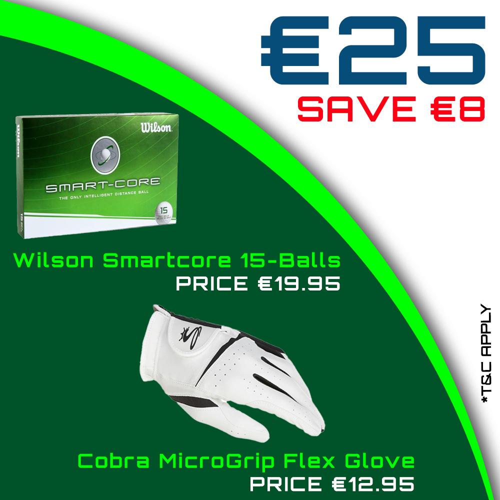 Bundle Offer - Wilson Smartcore 15-Ball Pack & Cobra Gents MicroGrip Flex Glove for €25