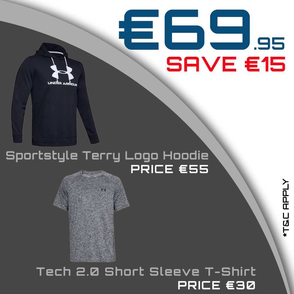 UA Sportstyle Terry Logo Hoodie & UA Tech 2.0 Short Sleeve T-Shirt for €69.95