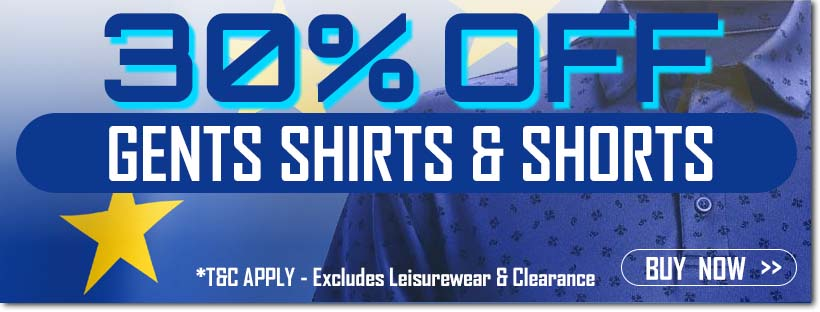 Ryder Cup Sale - Gents Shirts  and Shorts