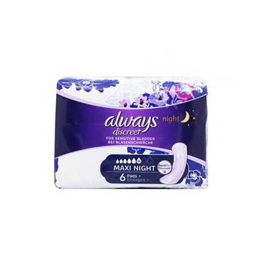 Always Discreet Maxi Night Pads For Sensitive Bladder 6 Pack