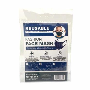 Reusable Fashion Face Mask Spandex Black