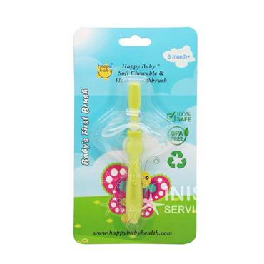 Happy Baby Baby 1st Toothbrush - Green 6mths +