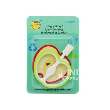 Happy Baby Apple Training Toothbrush & Teether Green 4 Months+