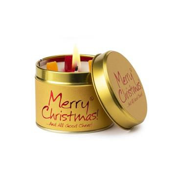 Lily Flame Candle In A Tin Merry Christmas