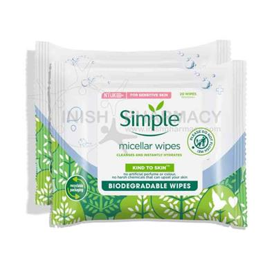 Simple Biodegradable Cleansing Wipes Twin Pack 2x20